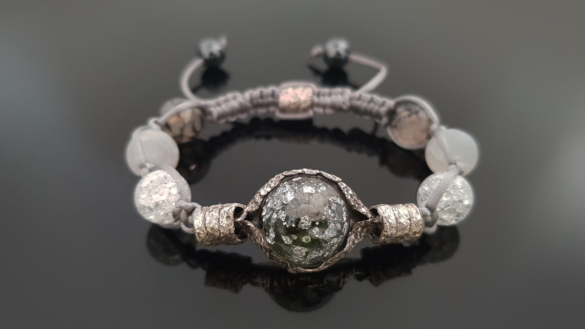 Orgone bracelet, Shamballa, Most powerful combination, moldavite, herkimer, diamonds, programmed amulet, reiki infused, pure silver, chakra