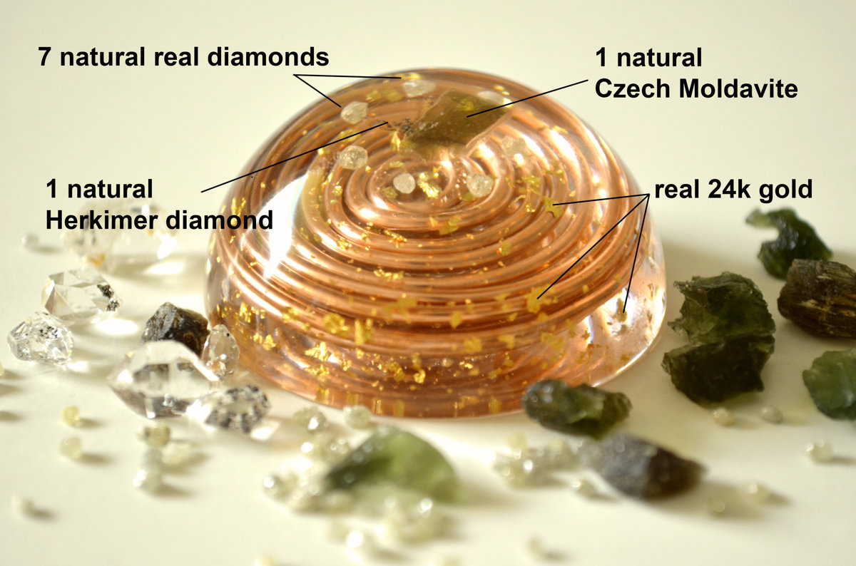 Orgonite orgone dome, Most powerful combination. Diamonds, Herkimer, Moldavite, vortex coil, wealth, love, reiki chakra healing, EMF, amulet