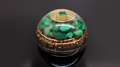 Orgone dome hemisphere, malachite (6cm) Wealth, Money, Love, Protection, 24k gold, reiki healing, black tourmaline, brass, EMF protection