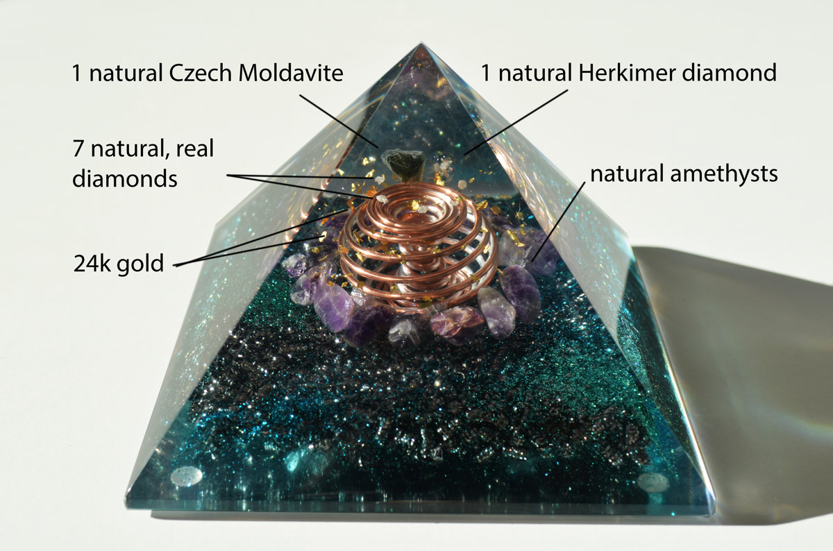 "Orgonite orgone pyramid (4.7"" 12cm) Most powerful third eye and crown chakra opening combination! Diamonds, Herkimer, Moldavite, vortex"