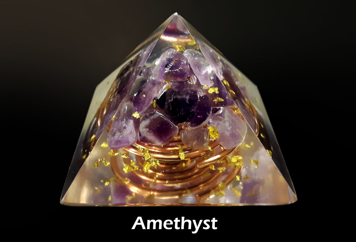 "Orgone energy Pyramid, Amethyst (5cm, 2"") - peace, harmony, protection, programmed and activated reiki chakra healing amulet, meditation"