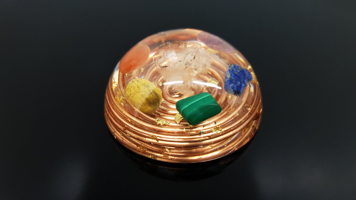 Pocket Orgone / orgonite dome - 7 chakra healing and charging, Reiki infused, programmed and activated amulet talisman, EMF protection, hemisphere