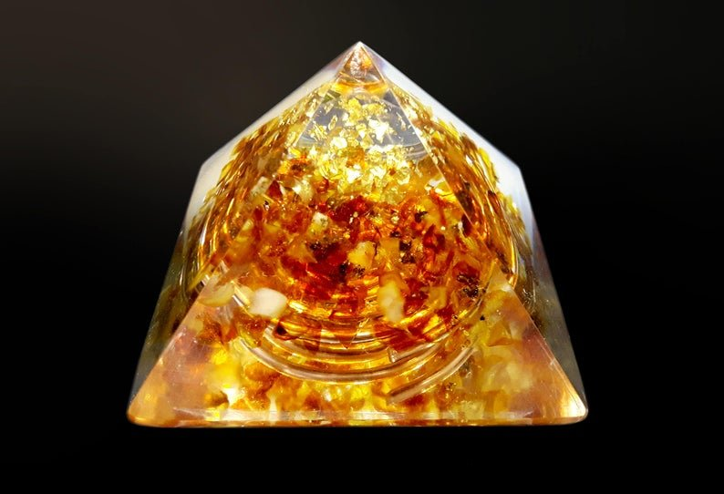 "Orgone energy Pyramid small, Natural Baltic Amber (5cm, 2"") wealth, protection, reiki healing, meditation, chakra healing, EMF protection"