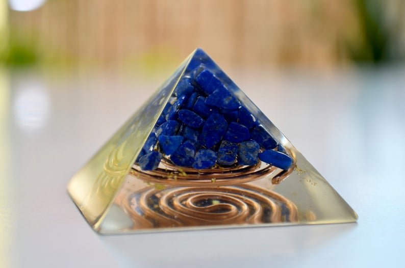 "Orgone energy Pyramid, Lapis Lazuli (5cm, 2"") - manifestation, protection, programmed and activated reiki healing amulet, meditation chakra"