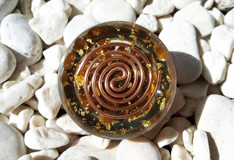 Pocket Orgone dome, Wealth, success, protection, Tiger's eye, Reiki energy infused amulet, chakra healing, EMF protection, solar plexus