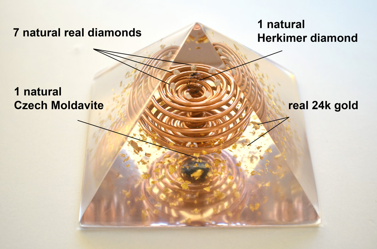 "Orgonite orgone pyramid, Most powerful combination! (3,5"" 9cm) Diamonds, Herkimer Diamond, Moldavite - wealth, love, reiki, vortex coil"